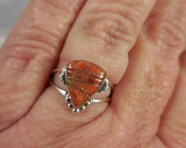Inlaid Spiney Oyster Sterling Silver Ring