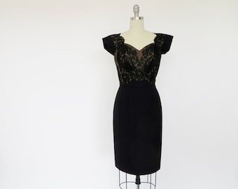 Vintage Dorothy O'Hara Dress / 1950s Dress / Nude Lace Illusion Dress / S