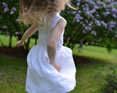 Baptism Wedding party flower girl Baby girl white linen dress special occasion first birthday blessing vintage rustic heirloom gown
