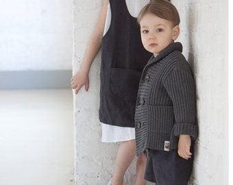 Toddler Boys Gray Blazer Knit Jacket Ring Bearer outfit