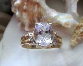 14k Pink Morganite and Diamond Ring 3.53g Size 8.75 Yellow Gold