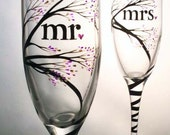 mr and mrs Wedding Toasting Flutes, hand painted tree with buds design, personalized in calligraphy, customized colors