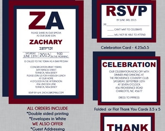 Navy Blue and Maroon Bar Mitzvah Invitation