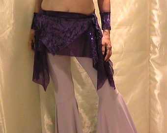 ATS Tribal, Festival and Flamenco Flare pants In Lilac with shimmering purple velvet and glitter dot removable skirt