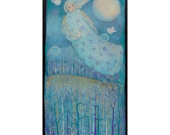 SOAR, a Painting on Canvas, Original art , celestial theme, 12 x 24 inches,home decor