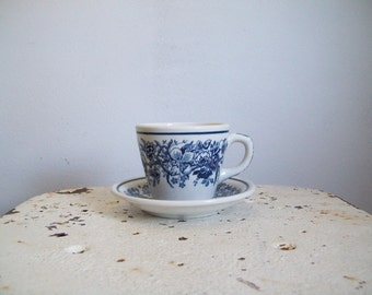 Restaurant ware cup  and saucer Shenango 1930s cobalt blue flowers on white  3 available