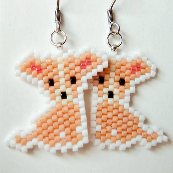 Chihuahua dog earrings seed bead animal jewelry hypoallergenic
