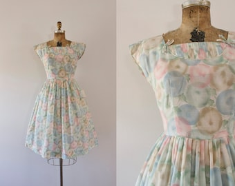 1960s Sweet Dreams sheer pastels sweetheart dress / 60s deadstock