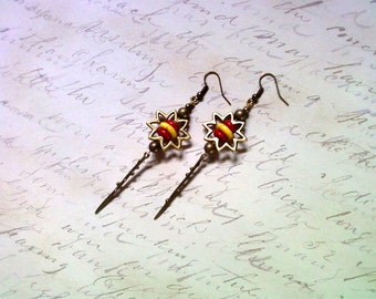 Red and Yellow Sunburst Dangle Earrings (1996)