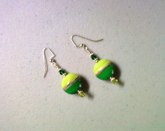 Lime and Emerald Green Lampwork Earrings (0885)