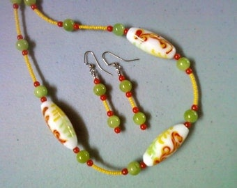 Lime Green, Yellow and Reddish Orange Necklace and Earrings (0247)
