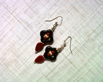 Black, Red and White Clover and Leaf Earrings (2102)