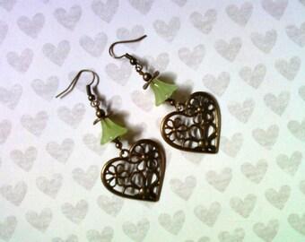 Green Heart and Flower Earrings (1813)