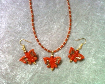 Orange and Gold Butterfly Necklace and Earrings (0952)