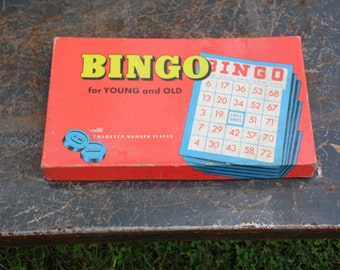 BINGO game vintage 1950s 1960s Whitman Publishing embossed number pieces original Bingo cards pieces and instructions complete game