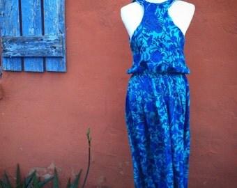 80s silk racer front oriental floral print elastic waist midi tea length aline kitsch hipster cottage chic vintage 1980s dress large L