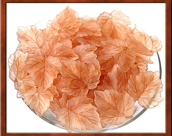 30pcs of Acrylic Leaf Beads, Washed Frosty Brown