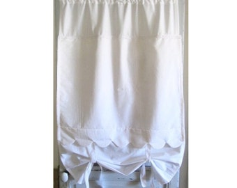 "Tall Door Curtain, White Tie up Door Panel, 88"" Length, Shabby Chic, Privacy Sash Window, Paris Decor"