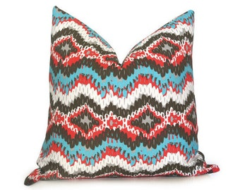 Ikat Links Outdoor Decorative Pillow Cover - Turquoise - Coral RED - White - More Sizes - Modern Pillow - Turquoise Pillow - IKAT