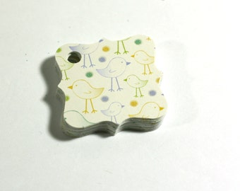 20 Gift Tags Little Birds on Ivory Cardstock Handmade Fancy Square Baby Shower Party Favor Tags -