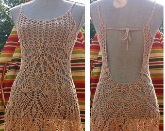 Open back beach dress/ crochet cover up / Made to Order in any size and color/2 weeks processing time