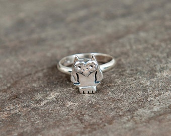 Owl ring sterling silver / bird / 925  / nature