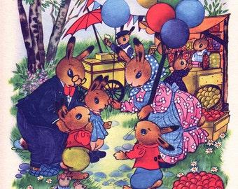 nursery print of Rabbit family at the market, vintage nursery decor for boy or girl