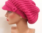 Women Pink Hat - Hand Knit Hat - The Weekender Slouchy Hat in Hot Pink  - READY TO SHIP - Winter Accessories Winter Fashion Winter Hat