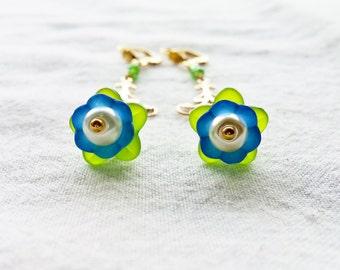 Brilliant Blue Bellflower Earrings