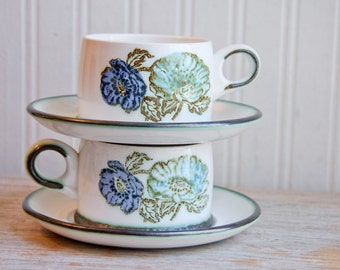 Blue Green Vintage Wedgwood Iona Tea Cup Saucer with Flowers, Stoneware Ironstone Aqua Cobalt Blue, Tea for Two, 4 piece set