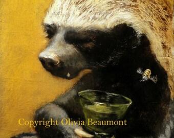 "Honey Badger Art- ""Half a Flagon"" - 5x7' print"