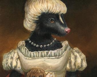 "Skunk art - ""Mrs. Spebbington"" - Original oil painting"