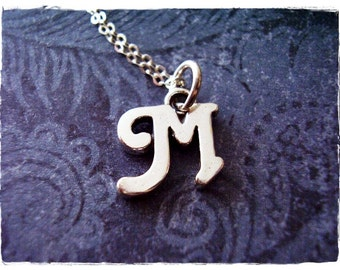 Silver Cursive M Initial Necklace - Sterling Silver Cursive Initial M Charm on a Delicate Sterling Silver Cable Chain or Charm Only