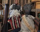 ON SALE Primitive Folk Art Black Uncle Sam And Ms Liberty Doll Pair