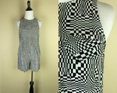 RESERVED Vintage Tank & Shorts Set / Illusion Print / High Waist Shorts Set / Black and White Set / 80s 90s Tank Top / Mod New Wave S