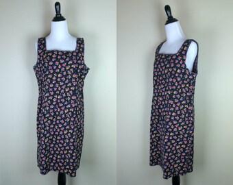 90s Floral Dress / 1990s Fitted Dress / Black Print Sundress / Sleeveless Grunge Dress / M.H.M. XL