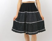 Vintage Polka Dot Skirt, XS Clothing, Black and White Skirt, Cute Kawaii, Cute Skirt, Quirky Clothing, High Waisted Skirt, Retro Skirt