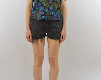 Vintage Abstract Floral Leaf Shirt, Boho, Size XS-Small, Hippie, Hipster, 80's Clothing, Rad, Tumblr Clothing