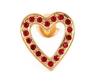 VINTAGE HEART PIN Avon Jewelry Brooch Red Rhinestone Romantic Bridesmaid Designer Signed Classic Gothic Lolita