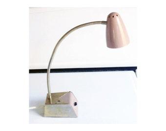 Adjustable Gold and Dusty Pink Gooseneck Task Light / Vintage Desk Lamp