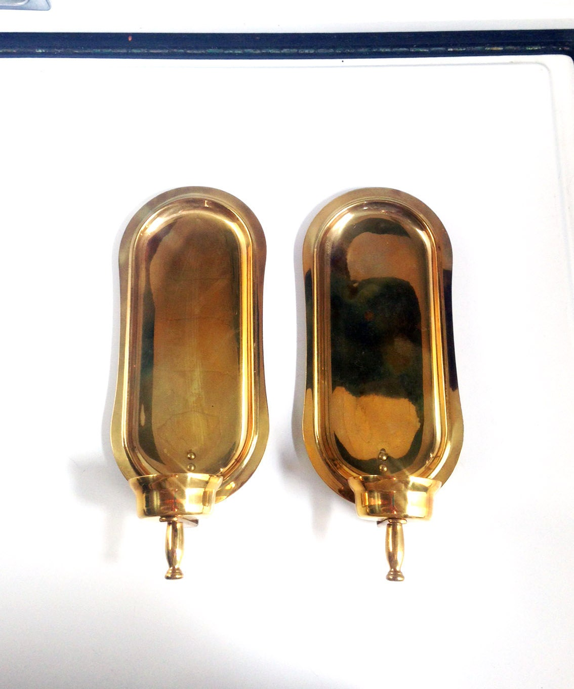 Antique Brass Wall Sconces For Candles : Vintage Brass Wall Sconces / Set of Two Candle Holders