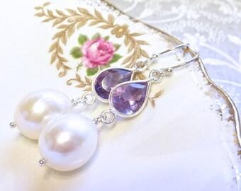 Amethyst and freshwater pearl Vermeer earrings in sterling silver
