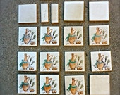 Vintage Reclaimed 1940's or 50's Tiles 18 Kitchen Ceramic Tile Wheat French / Italian country Decor