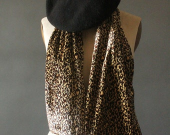 Vintage 90's Velvet Leopard Scarf and Matching Black Beret by Toucan Collection