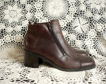 Vintage 1990's Chocolate Brown Leather Ankle Boots Size UK 6 Euro 39