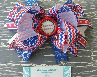 OTT 4th of July Stacked Boutique Bow, American Princess OTT Bow, Red White and Blue Bow, 4Th of July OTT Bow, 4th of July Owl Bow,