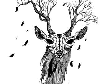 Deer art print -11x14 inch