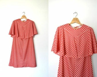 Vintage 70s peach polka dot dress faux capelet plus size Zip back closure Slightly stretchable / size X-large