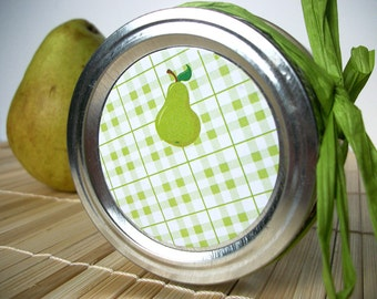 Plaid Pear canning jar labels, round stickers for regular and wide mouth mason jars, fruit preservation jar labels, jam and jelly