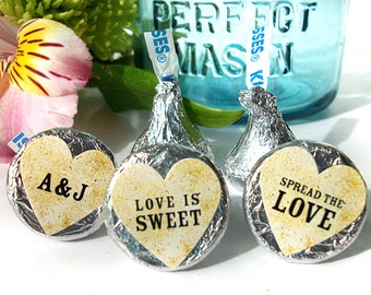 Vintage Hershey Kiss heart stickers for Wedding Bridal Shower favors, custom cottage chic labels for mason jars, candy, and envelopes